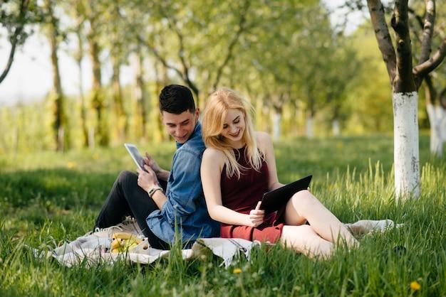 美しいカップルは夏の公園で過ごす 無料写真