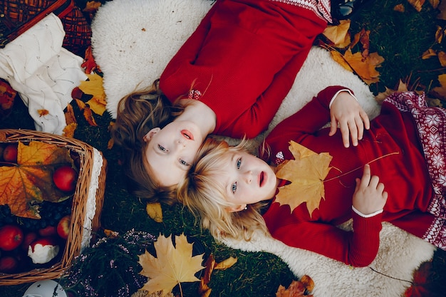 秋の公園でかわいい女の子 無料写真