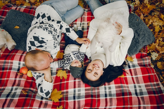 秋の公園で息子と家族 無料写真