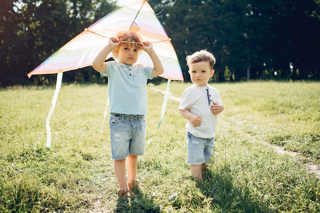 Милый маленький ребенок в летнем поле с воздушным змеем Бесплатные Фотографии