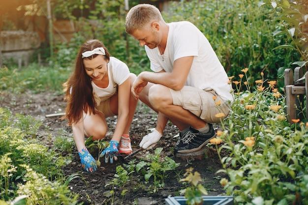 庭で働く美しいカップル 無料写真
