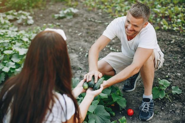 Красивая пара работает в саду Бесплатные Фотографии