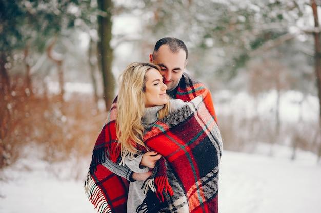 彼女の夫と冬の公園で美しい女性 無料写真
