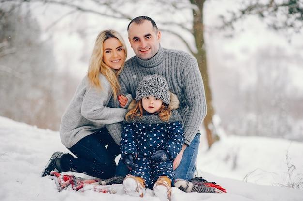 冬の公園で毛布の上に座って両親と小さな女の子 無料写真