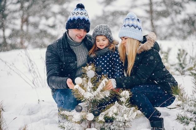 冬の公園で遊んでいる両親と小さな女の子 無料写真