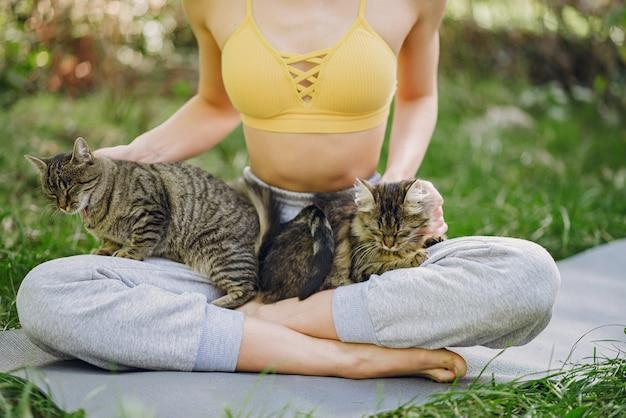 Девушка сидит в парке летом с милой кошкой Бесплатные Фотографии