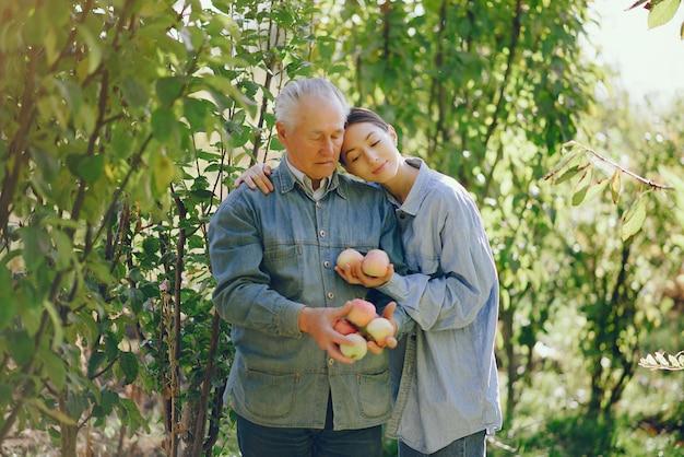 Старшее старшее положение в летнем саду с яблоками Бесплатные Фотографии