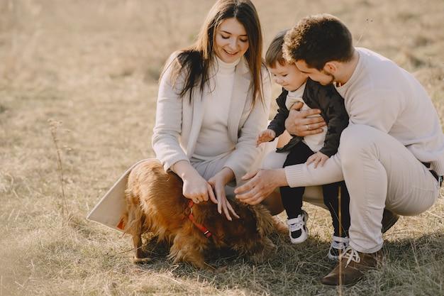 Стильная семья гуляет по солнечному полю Бесплатные Фотографии