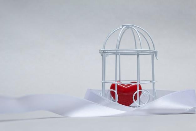 Идея на тему любви. декоративная клетка с красным сердцем в неволе. Premium Фотографии