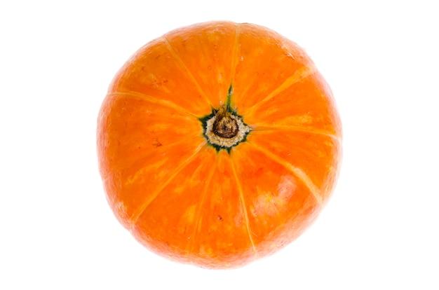 白い背景に分離された小さなオレンジ色のカボチャ。 Premium写真