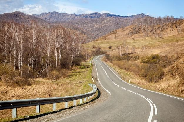 春先のケマル地区のアルタイの高山の風景で、針葉樹と白樺の森と道路、空は雲で覆われています Premium写真