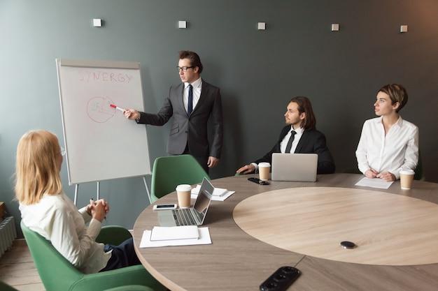 自信を持ってスピーカービジネスコーチはフリップチャートでチームにプレゼンテーションを行います 無料写真