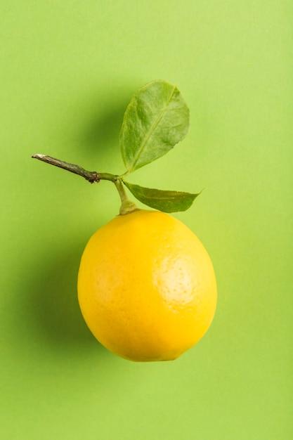 Спелый лимон с веткой и листьями Premium Фотографии