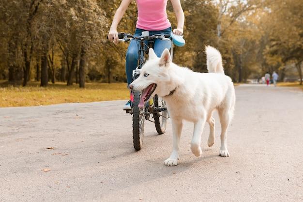 白いハスキー犬と女性乗馬自転車 Premium写真