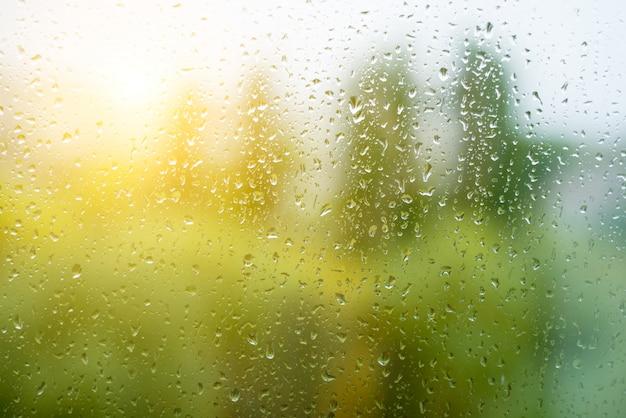 Капли дождя на осеннем окне, городские Premium Фотографии