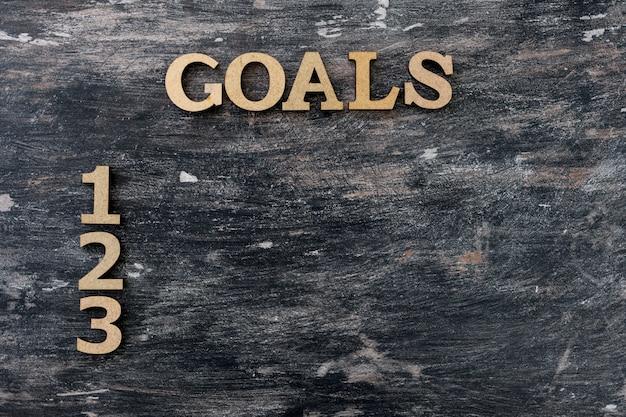 黒のビンテージ背景、単語の目標と数字 Premium写真