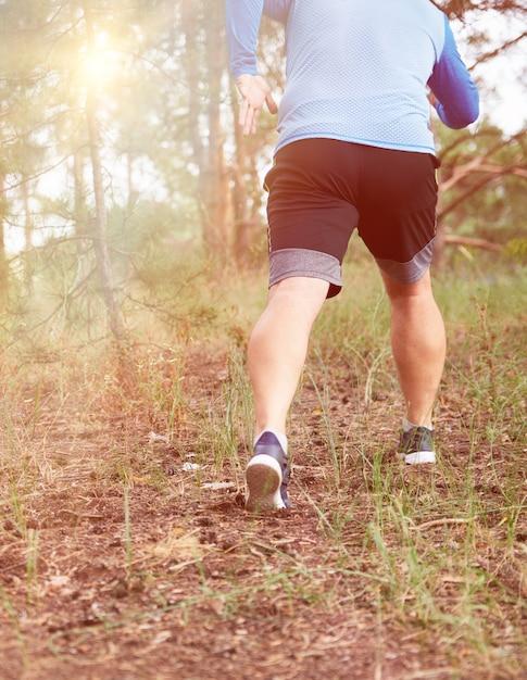 青い服と黒のショートパンツで成人男性は明るい太陽に対して針葉樹林を走る Premium写真
