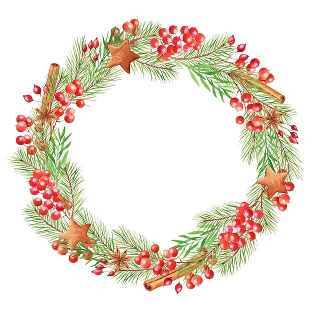 Акварель рождественский венок с ягодами, еловые ветки, палочки корицы и пряники. праздничная круглая рамка, изолированная на белом Premium Фотографии