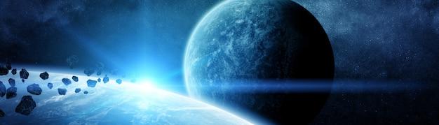 遠くの太陽系の惑星のパノラマビュー Premium写真