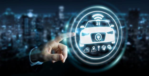 Бизнесмен, используя современный умный автомобильный интерфейс Premium Фотографии
