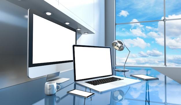 コンピューターとデバイスを備えたモダンなガラスデスクインテリア Premium写真