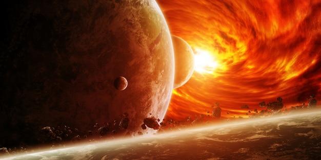 惑星地球と宇宙の赤い星雲 Premium写真