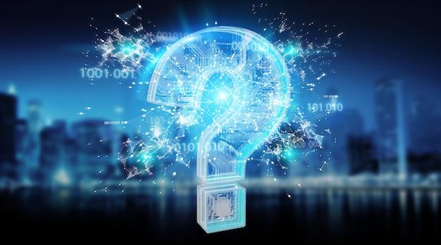 青いデジタル疑問符の背景 Premium写真