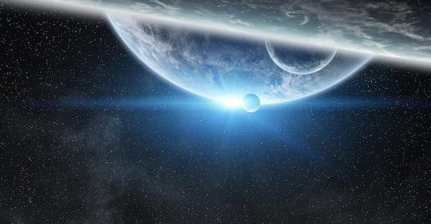 宇宙の地球上の日の出 Premium写真