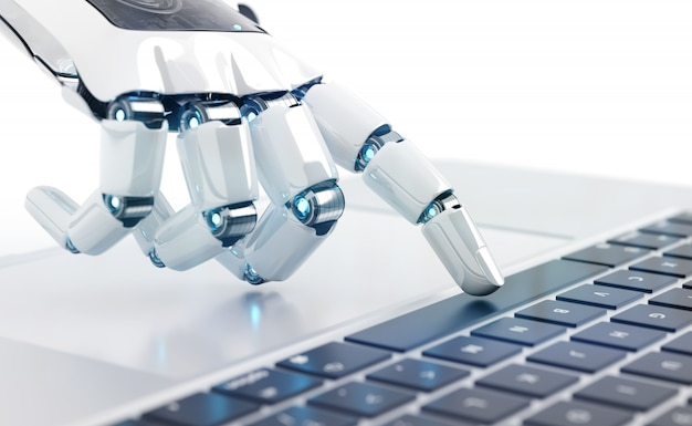 ノートパソコンのキーボードを押す白いロボットサイボーグ手 Premium写真