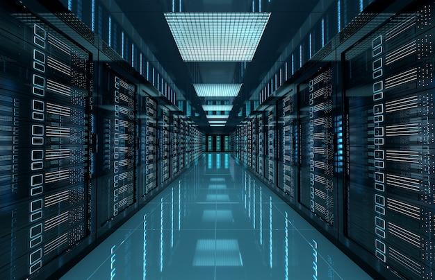 暗いサーバーは、コンピューターとストレージシステムで部屋を中央に配置します Premium写真