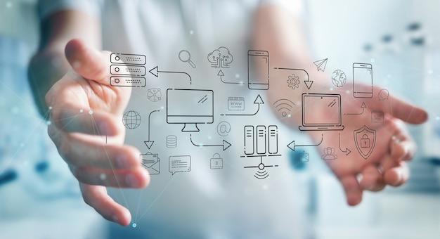 Бизнесмен, используя технические устройства и иконки тонкая линия интерфейса Premium Фотографии