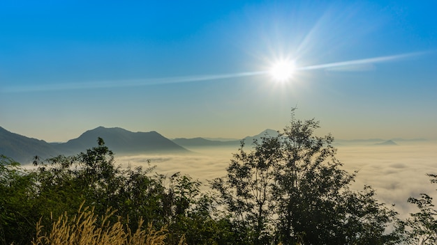 山の霧との朝の美しい日の出。 Premium写真