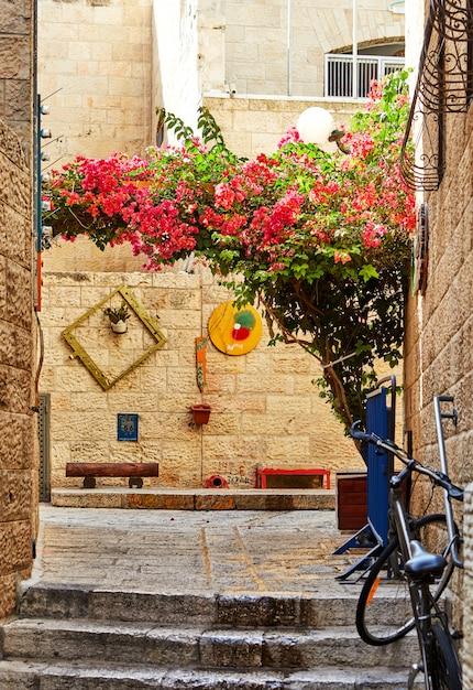 エルサレムのユダヤ人街の古代の路地 Premium写真