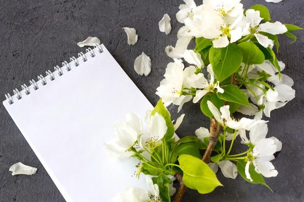 Цветочная композиция в весенний день. цветущие ветви яблони на сером фоне. блокнот с пространством для текста. концепция написания романтического письма на день святого валентина Premium Фотографии