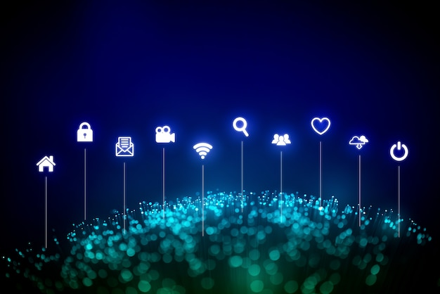 Глобальная сеть для технологий и будущей концепции Premium Фотографии