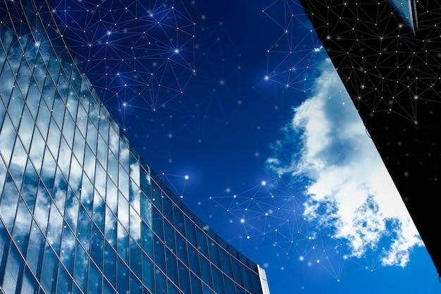 ネットワークと将来の概念のためのロンドン事務所ビル Premium写真