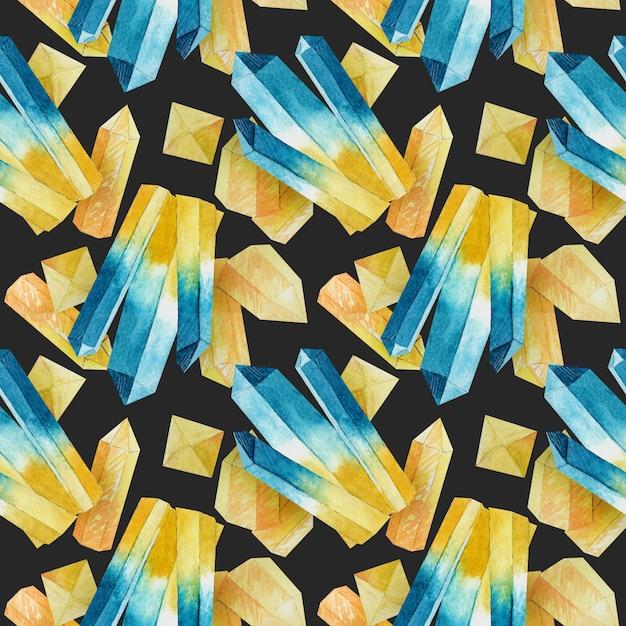 水彩の結晶とのシームレスなパターン Premium写真
