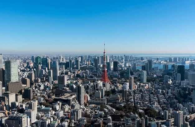 東京タワーと東京の街並み、東京、その日のパノラマビュー Premium写真
