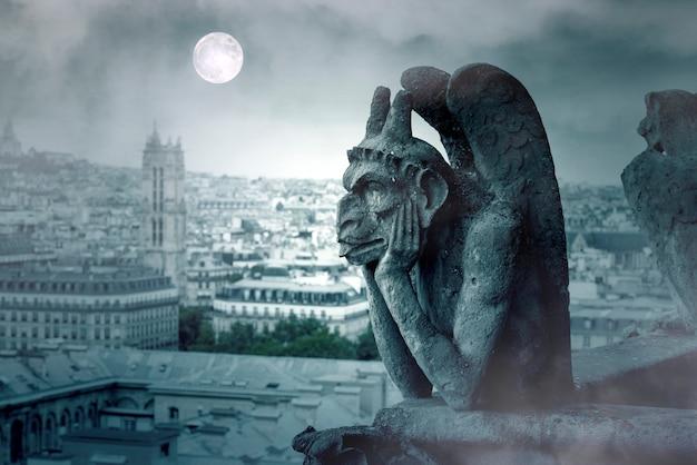 パリのノートルダム寺院のガーゴイルを覆う霧の夜と月の光 Premium写真