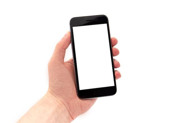 男は黒の携帯電話、分離された白いディスプレイとスマートフォンを持っている手 Premium写真