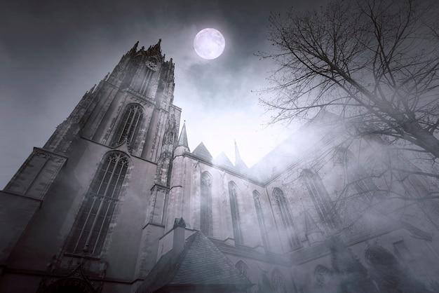 Старая готическая церковь с лунным светом и туманной ночью во франкфурте в германии Premium Фотографии