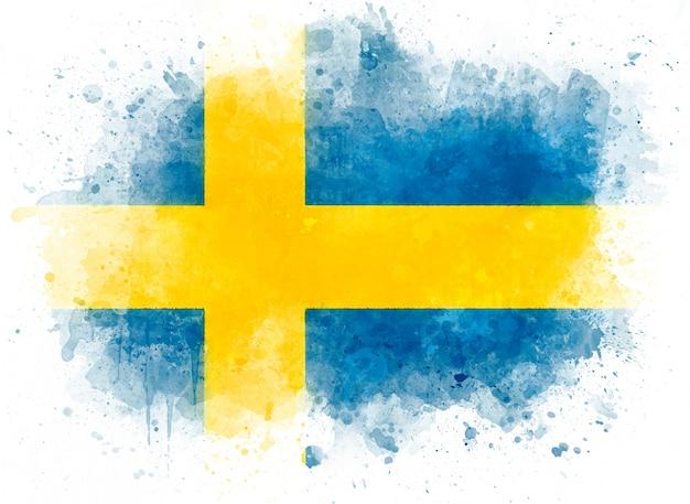 Иллюстрация флаг швеции, акварельный флаг на белой бумаге Premium Фотографии