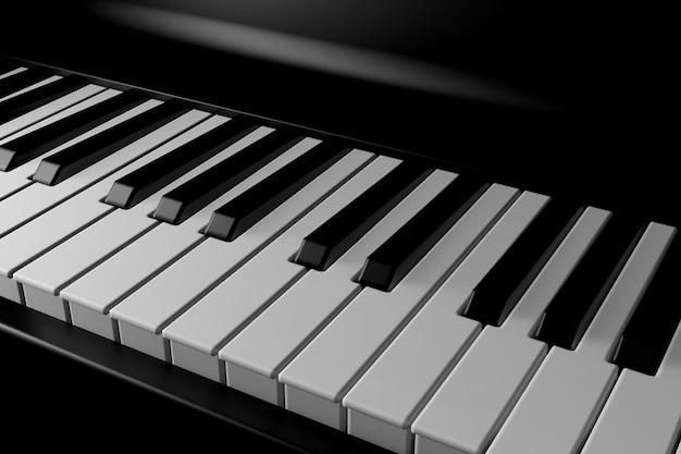Свет и тень пианино в темноте Premium Фотографии