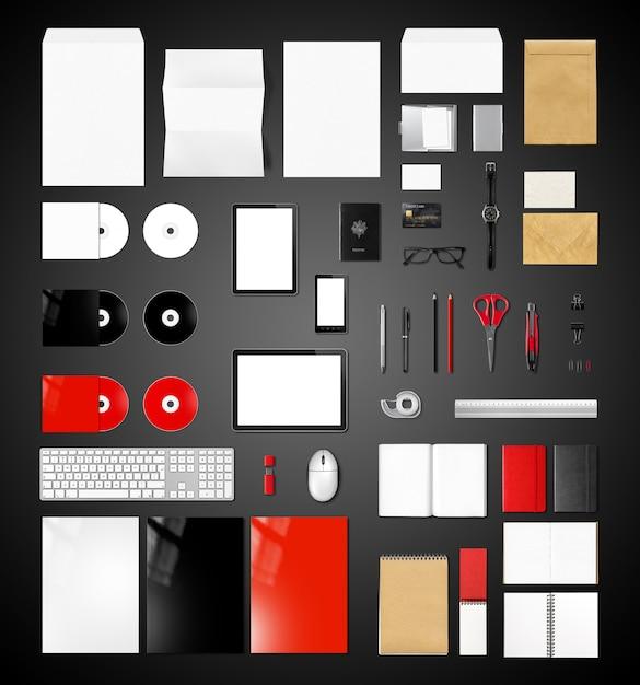 製品ブランドモックアップテンプレート、黒の背景 Premium写真