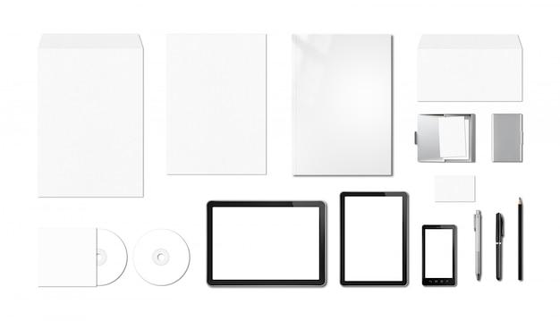 企業ブランディングモックアップテンプレート、白い背景 Premium写真
