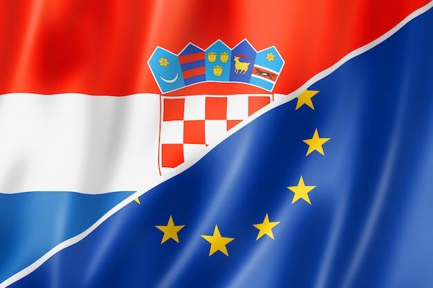クロアチアとヨーロッパの旗 Premium写真