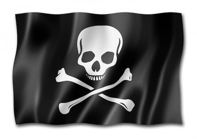 海賊旗、分離されたジョリーロジャー Premium写真