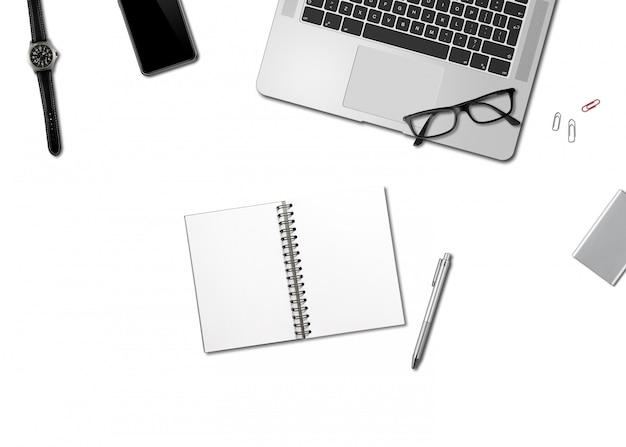 Офисный стол макет сверху, изолированные на белом Premium Фотографии