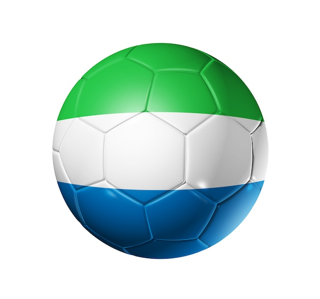 シエラレオネの国旗とサッカーサッカーボール Premium写真
