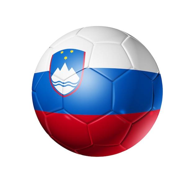 スロベニアフラグとサッカーサッカーボール Premium写真